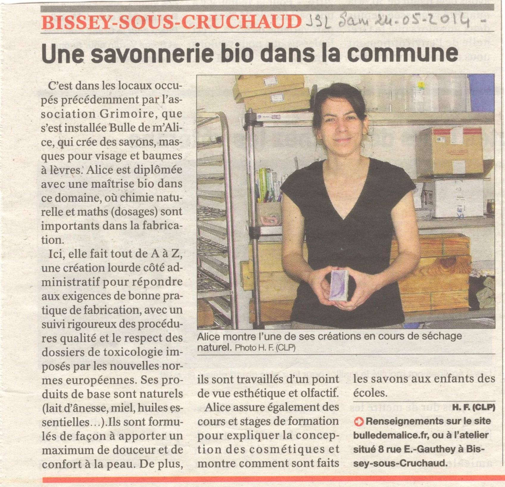 article sur l'ouverture de la savonnerie artisanale Bulle de m'Alice à Bissey-sous-Cruchaud