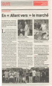 Article sur le marché des producteurs de Nanton «Allant vers»