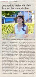 Article du jsl sur la participation de la savonnerie au marché des producteurs de Nanton