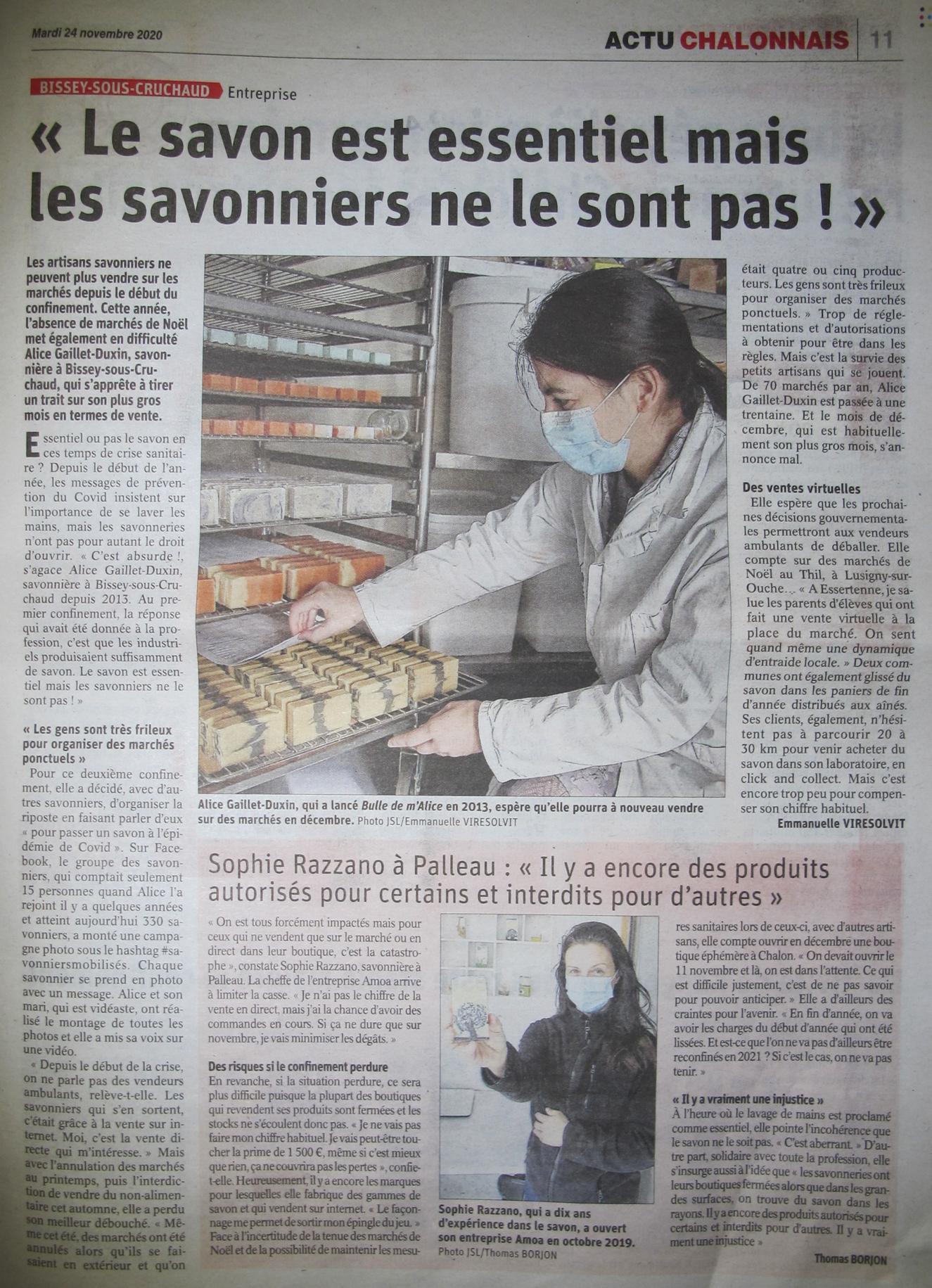 Article du JSL du 24/11/2020 sur notre action #savonniersmobilisés