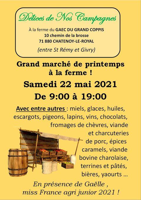 Read more about the article Présence de la savonnerie au marché de printemps à la GAEC du grand Coppis le 22 mai 2021